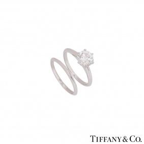 Tiffany & Co. Platinum Diamond Ring 1.71ct I/VVS1 With Plain Wedding Band